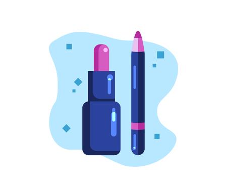 Decorative cosmetics. Lip care. Lipstick and cosmetic pencil. Flat Vector Illustration