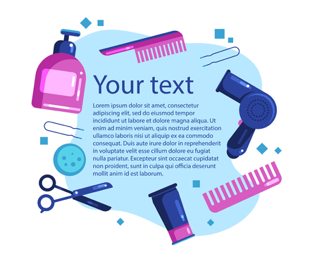 vector text banner hairdressing tools and cosmetics