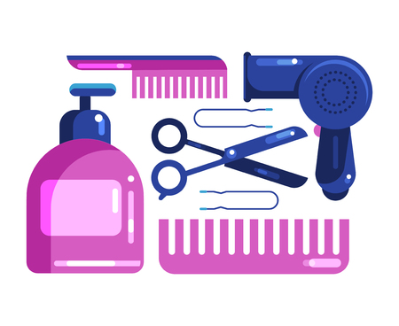 Hair care. Set of cosmetics and hair technology