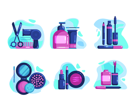 Set of icons on the theme of cosmetics, makeup, manicure, body care, hairdressing, hair styling and cutting, spa, beauty salon. Flat Vector Illustration
