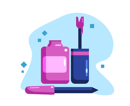 Nail polish and nail file. Set for a pedicure and manicure. Flat Vector Illustration Ilustrace