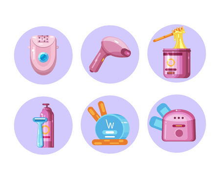 Set of icons on the topic of hair removal. Epilator, sugaring paste, razor and shaving foam, laser epilator, wax epilation, wax, wax heating apparatus. Flat Vector Illustration