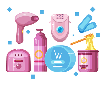 Various types of hair removal, depilation, elements set