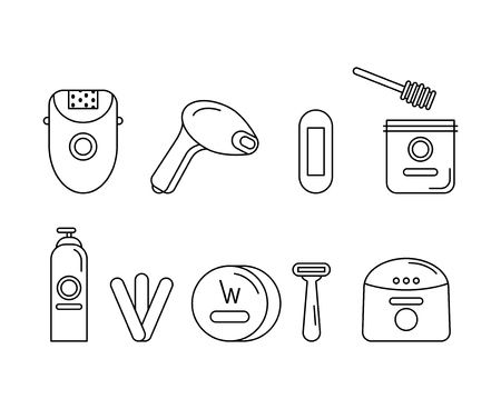 Set of monochrome icons on the subject of hair removal, depilation. Icon for website, beauty salon blog. Flat Vector Illustration Illustration