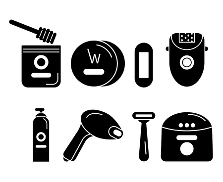 Black icons set on hair removal Stock Illustratie