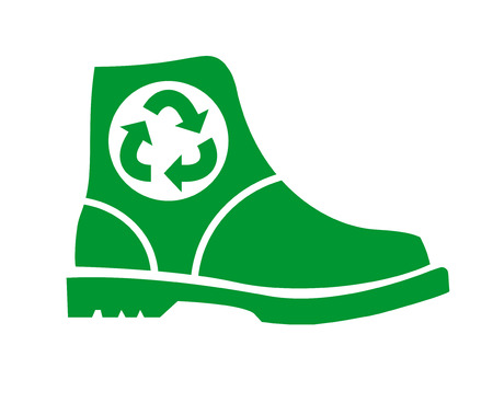 Recycling shoes. Flat vector logo, icon, sign