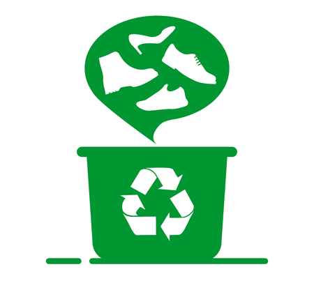 Recycling shoes. dustbin and recycling sign, concept