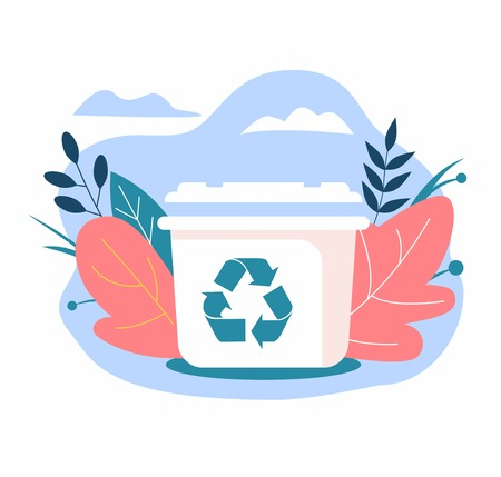 Dustbin with recycling symbol. Zero waste concept 写真素材 - 124387159