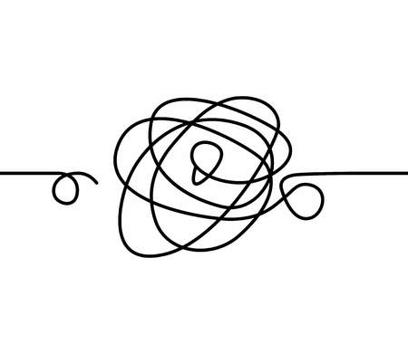 Confused tangle, knot. Problem symbol, life difficulties