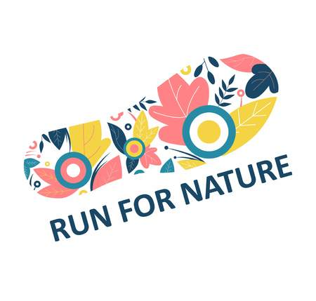 Run for nature. Track from the sneaker. Flowers and leaves. Symbol of a healthy lifestyle. Harmony with the world. Flat Vector Illustration 写真素材 - 124387483