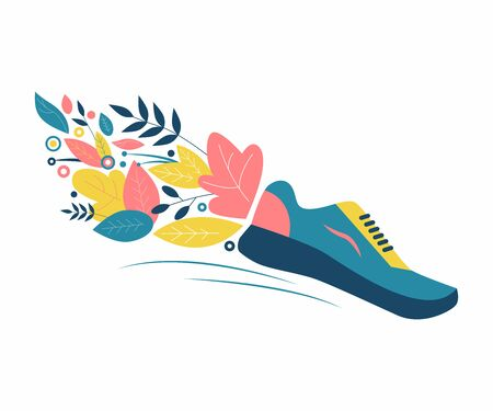 Running in nature. Sneakers, flowers and leaves