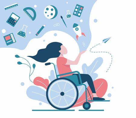 Girl, schoolgirl in a wheelchair. Inclusive Learning 写真素材 - 136149846
