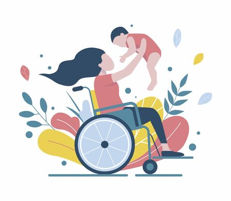 Woman in a wheelchair holds a baby Vettoriali