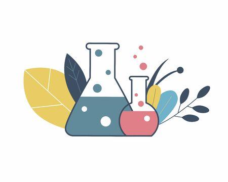 Chemical flasks and autumn leaves, icon Illusztráció