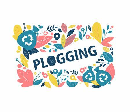 Plogging. Symbol of running and collecting garbage