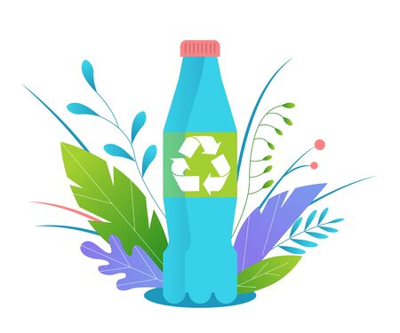 Recycling plastic. Recycling plastic bottles. Image of a plastic bottle with a recycling symbol on the label. An object among flowers and leaves. Flat vector illustration.