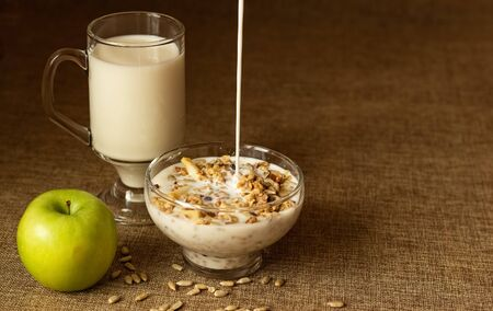Oatmeal in a glass bowl, pouring milk. Next to a mug of milk and lies a whole apple. Selective focus, place for text