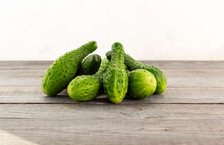 Crooked cucumbers. Cucumber grown with incomplete watering. Diseases of vegetables. Stock fotó