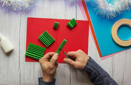 Postcard for New Year and Christmas with your own hands. Stock fotó