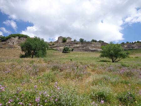 View of Chufut-Kale from the foot of the hill Stock Photo