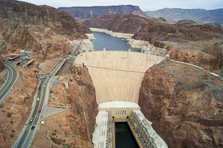 The powerful Hoover dam nearby the border between Arizona and Nevada, USA, view from the brindge.