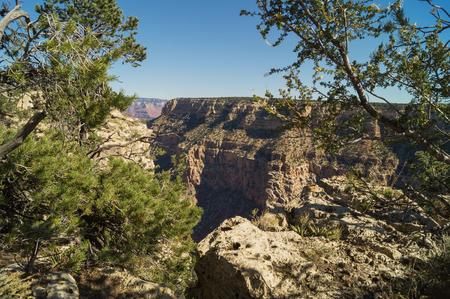 south rim: An amazing view of the Grand canyon (south rim) Arizona, USA, against cloudy sky.