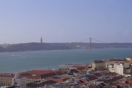 25th: View of Lisbon, The statue of Christ and 25th of April bridge from St. Georges castle. Editorial