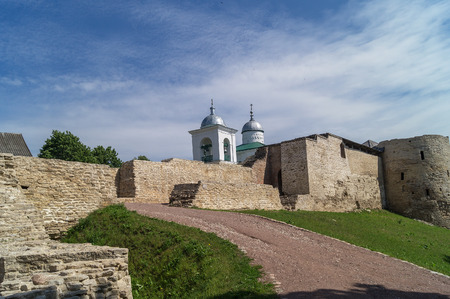 st nicholas cathedral: A view of the Izborsk fortress and St. Nicholas Cathedral of 14th century, Pskov region,Russia. Editorial