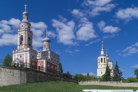 prophet: Serpukhov.Church Of The Assumption Of The Blessed Virgin (yellow) and Elijah the Prophet. Stock Photo