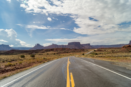 byway: Utah State Route 128 - Upper Colorado River Scenic Byway,Utah,USA Stock Photo