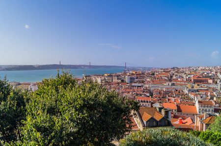 A panoramic view of Lisbon, the Statue ot Christ, 25th of April Bridge from St. Georges castle. Stock Photo