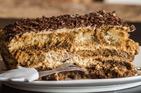 calory: a peace of beautiful delicious homemade cake tiramisu, low calory, close up