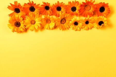 Floral pattern with yellow and orange flowers isolated on yellow background. Flat lay. Copy space. 写真素材