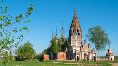Abandoned destroyed and ruined orthodox church in Russia.