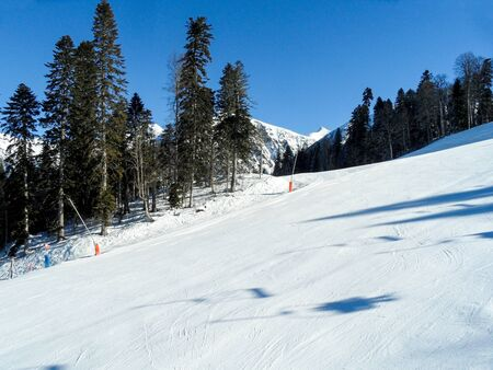 Ski mountain area of Krasnaya Polyana ski resort, Sochi, Russia.