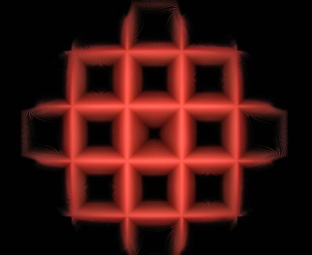 Computer-generated fractal image in the form of a red grid on a black background for use as a background in design and art.