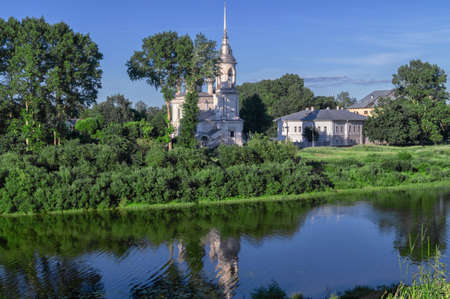 View of an old Church in the city of Vologda on the Bank of the Vologda river in Russia.