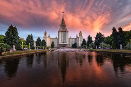 Moscow, Russia - June 15, 2020: the Moscow Lomonosov State University on golden hour.