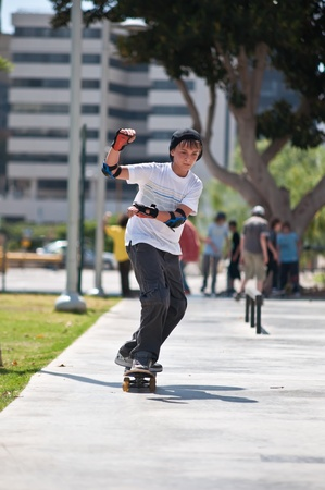 Boy rides his skateboard . Stock Photo - 9503105