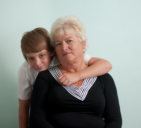 Grandmother and her grandson . Stock Photo
