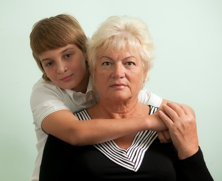 Grandmother and her grandson . photo