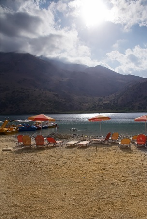 The only fresh water lake in Crete - Lake Kournas. Stock Photo - 9549168