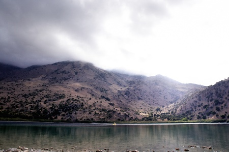 The only fresh water lake in Crete - Lake Kournas. Stock Photo - 9549151