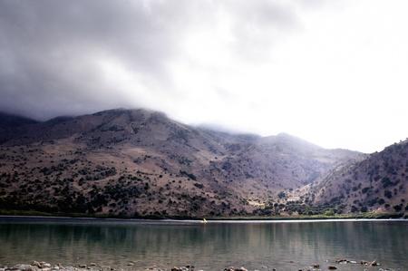 The only fresh water lake in Crete - Lake Kournas. Stock Photo - 9549151