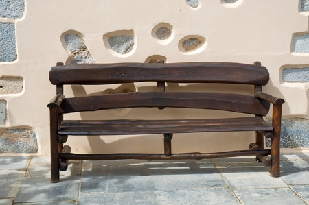 Church seating in ancient Greek monastery . Stock Photo