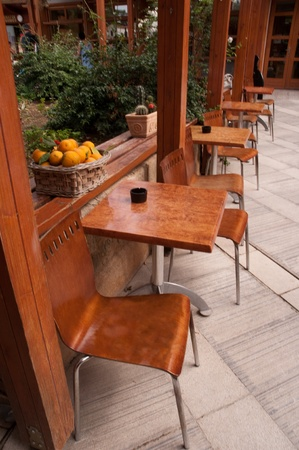 Empty cafe interior orange color . Stock Photo
