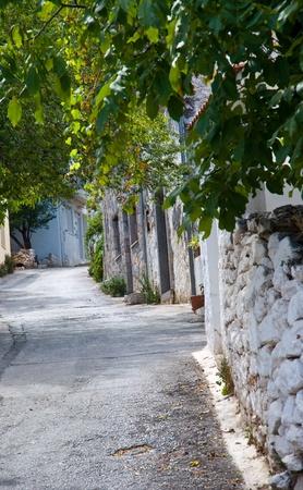 Street of the old Greek village. Crit . Stock Photo