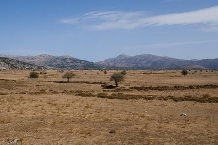 View of the fertile Lassithi Plateau in Crete, Greece.