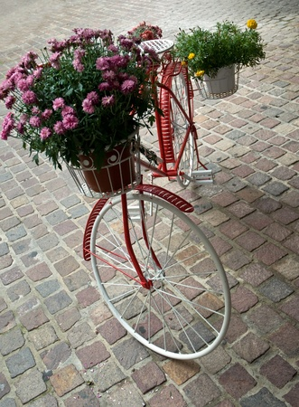 Bicycle like a flower pot . photo