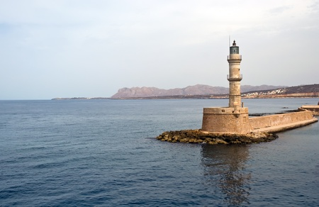 Lighthouse in Chania, Crete (Greece) .